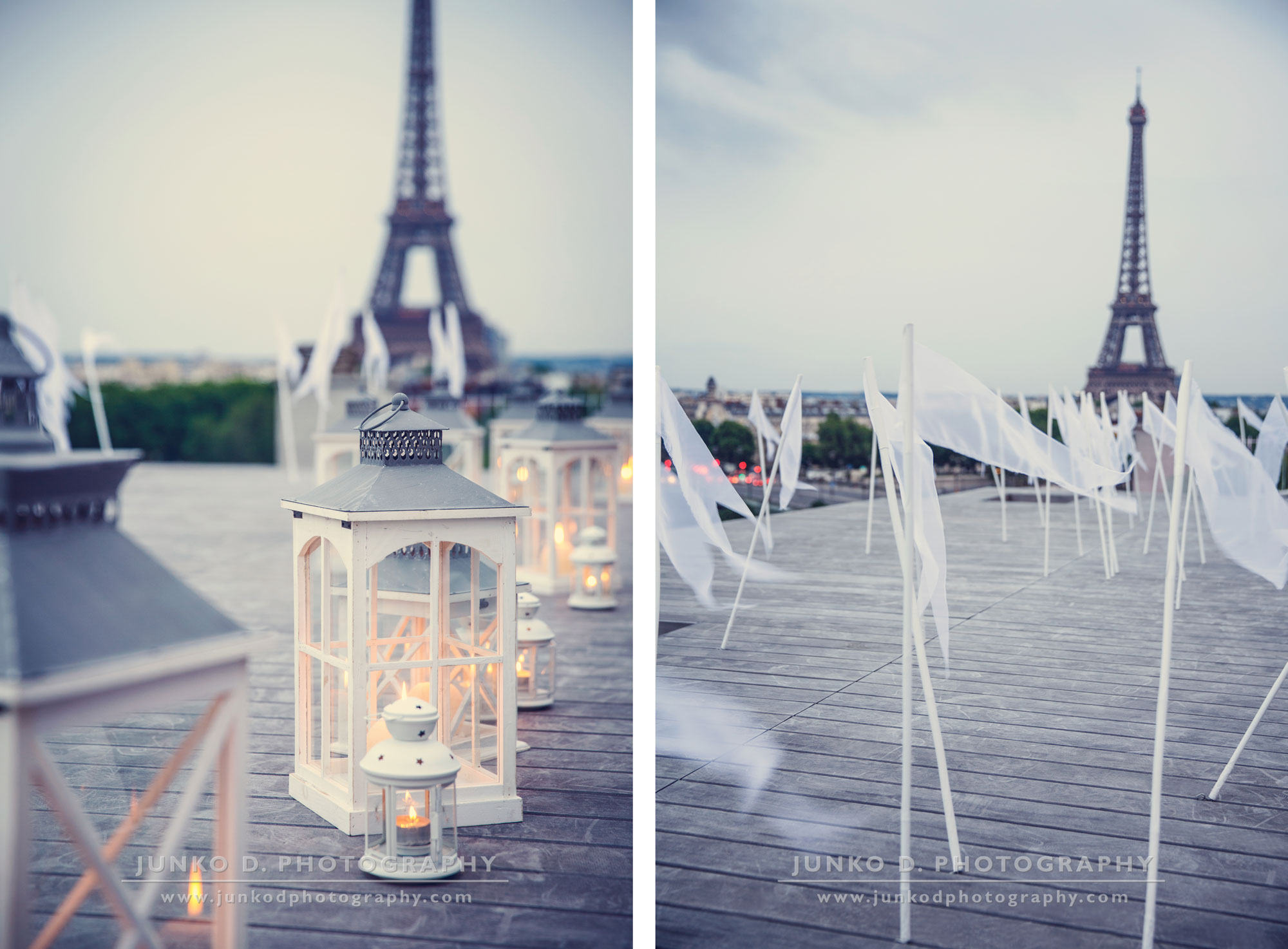 reception decor and Eiffel tower