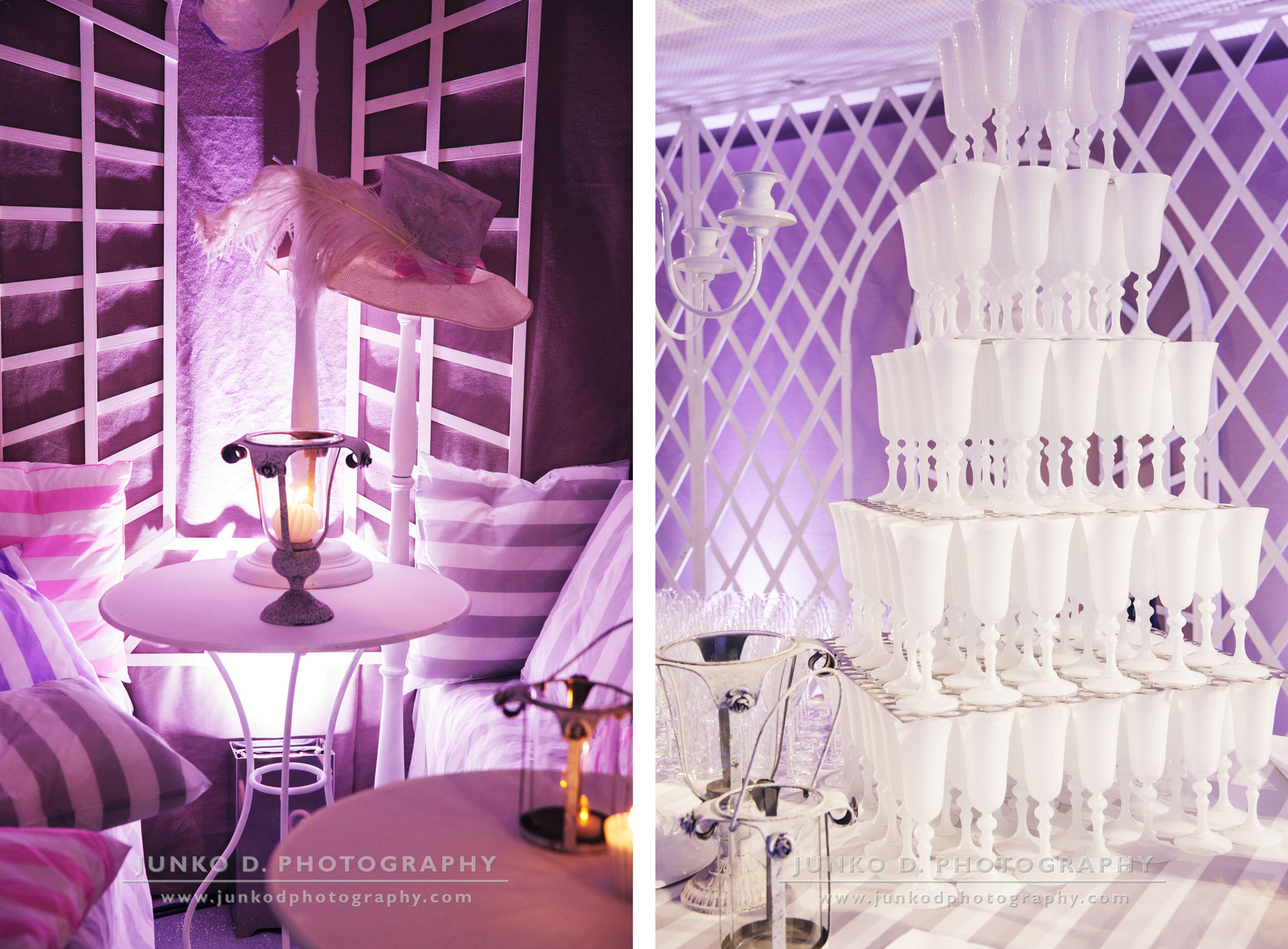 reception decor at Maison Blanche in purple