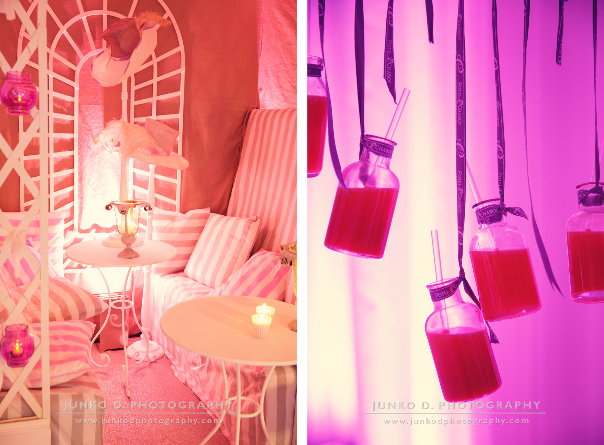 reception decor at Maison Blanche in pink