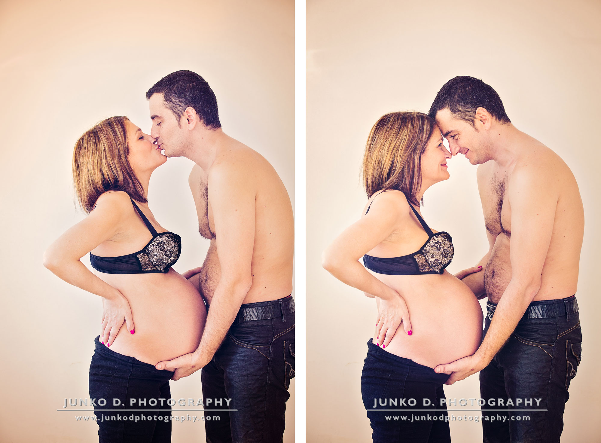 pregnant young woman kissing her husband